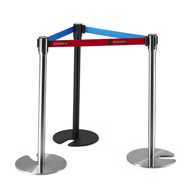 Stackable Retractable Belt Stanchion with Cement Bases