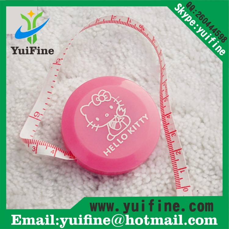 Round Shaped Hello kitty Measuring Tape 1.5m/60inch Meters 60in tape measure Lovely Mini Retractable