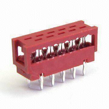 PCB Connector, 1.27mm Dip Plug IDC, 4 to 20 Pins, Tin Plated, PBT Red, Tube Packing