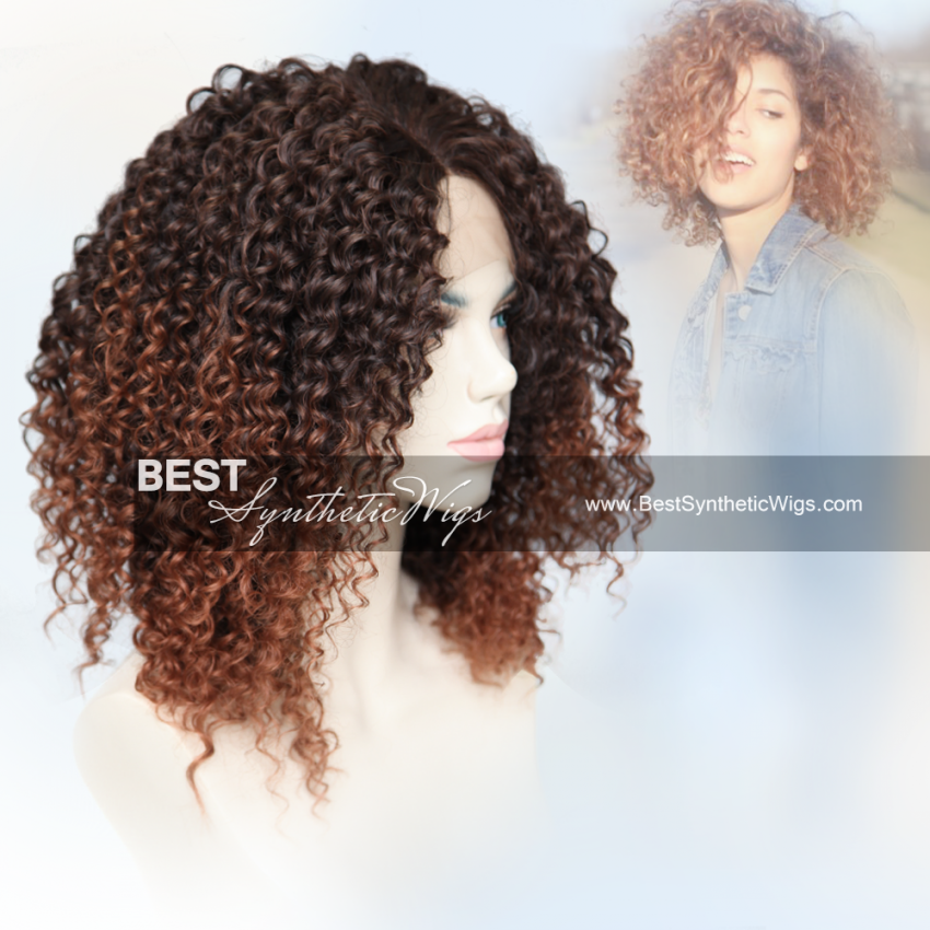 ombre curly synthetic lace front wig