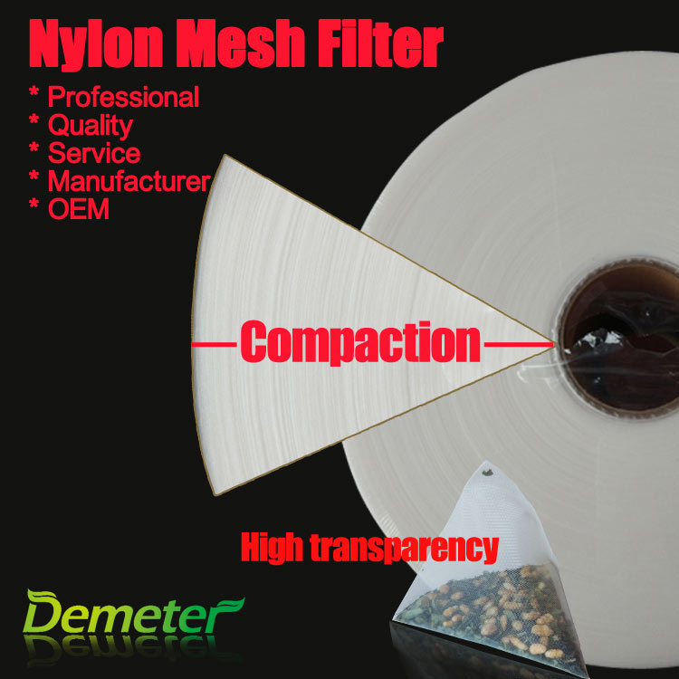 Nylon mesh roll for pyramid tea bags heat seal