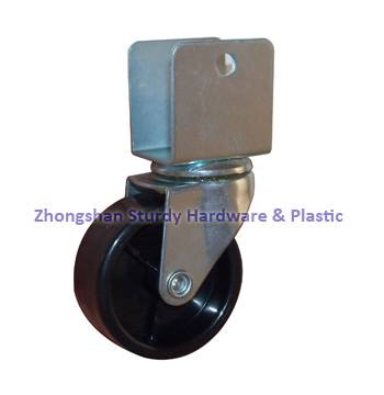 Black Twin Wheel Furniture Caster U Channel Plate Brake