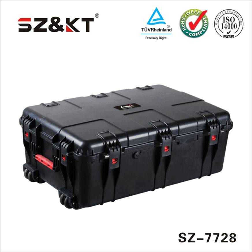 strong equipment protective case with two wheels