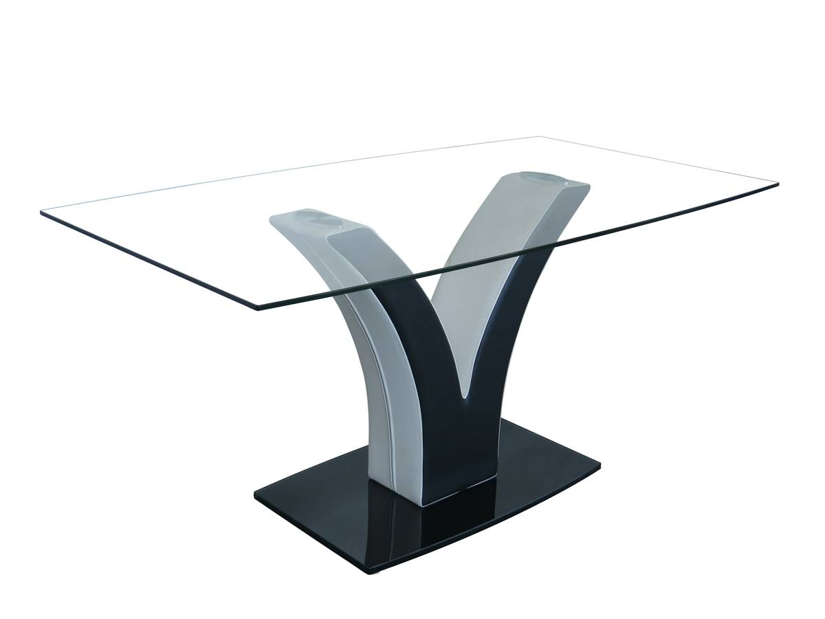 Rectangle Glass Dining Table with Tempered Clear Glass