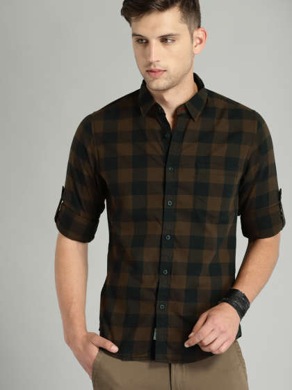 Men's Oversized Plaid Regular Fit Long Sleeve Checked Cotton Shirt In Stock