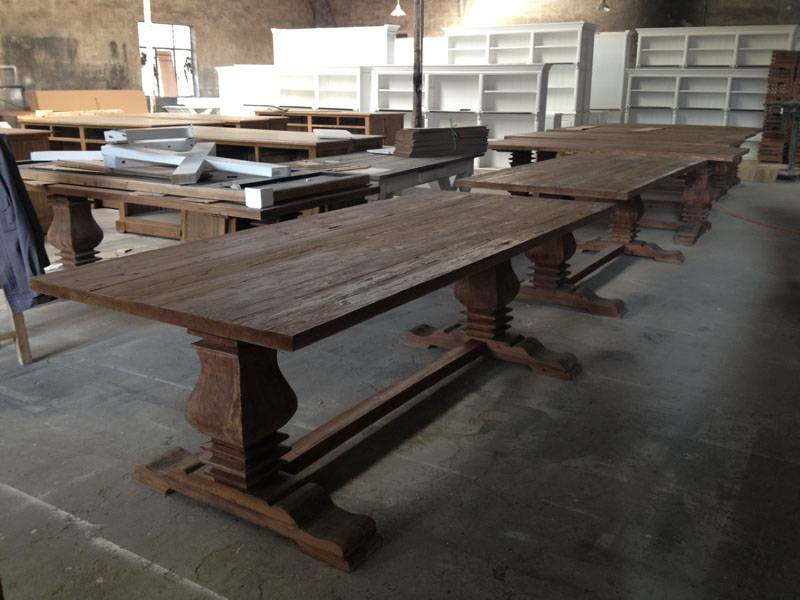 french style recycled wooden dining table
