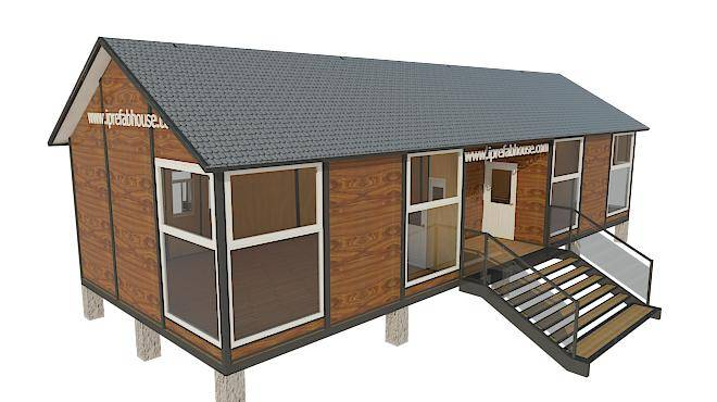 middle-sized one layer vacational pre-manufactured steel housing,79.50 sq.m.