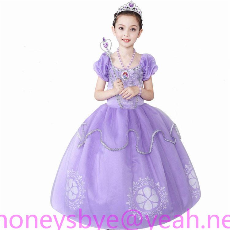Sofia Princess Dress Kids Halloween Costumes Christmas Party Children Dress