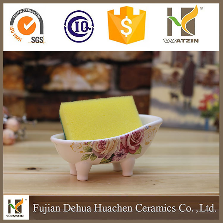 ceramic soap box and ceramic sponge holder