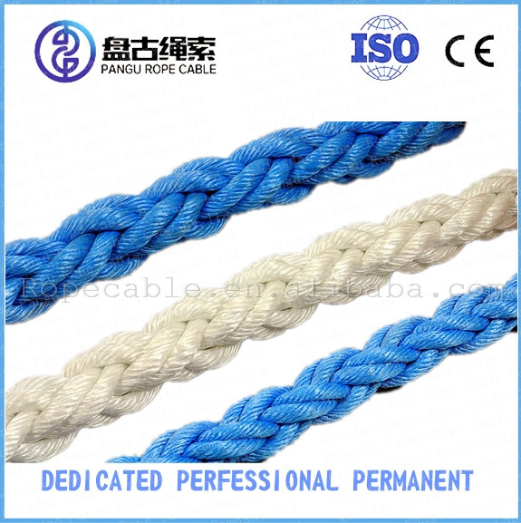 High quality Polypropylene 8-strand braided mooring ropes marine supply