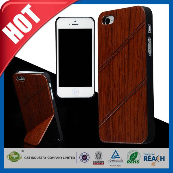 C&T Standing handwork wooden bamboo case for iphone 5