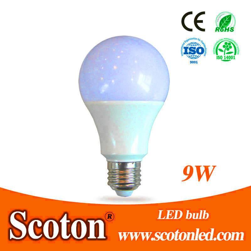 9W LED Bulb By Aluminum Plastic Cover