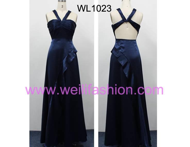 Long Pleated Satin Bridesmaid Dresses