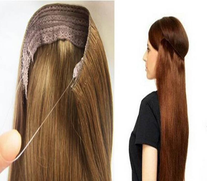 Remy Human Hair Flip in Hair Extension Halo Hair Weft
