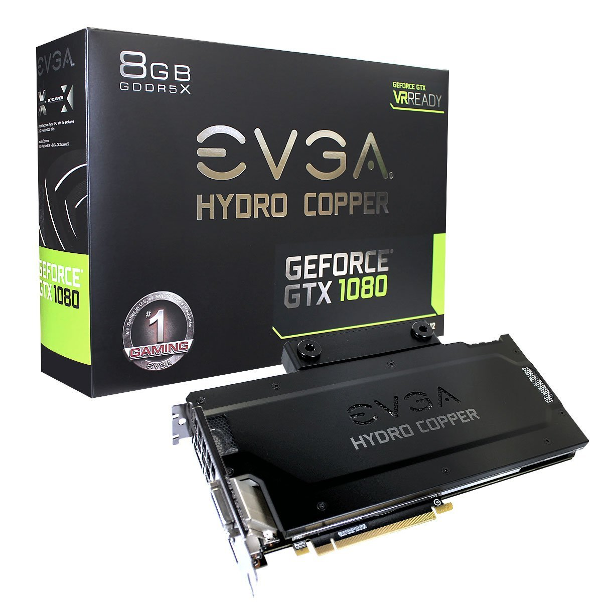 EVGA GeForce GTX 1080 FTW HYDRO COPPER GAMING, 8GB GDDR5X, RGB LED, HYDRO COPPER Waterblock, 10 Powe