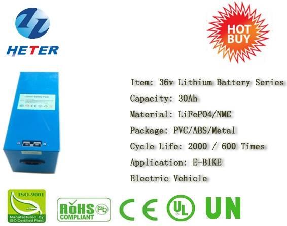 36v30Ah E-Bike Lithium Battery; EV/Scooter/Moped Battery; LiFePO4/NMC Battery Series; 36v Li-ion Bat