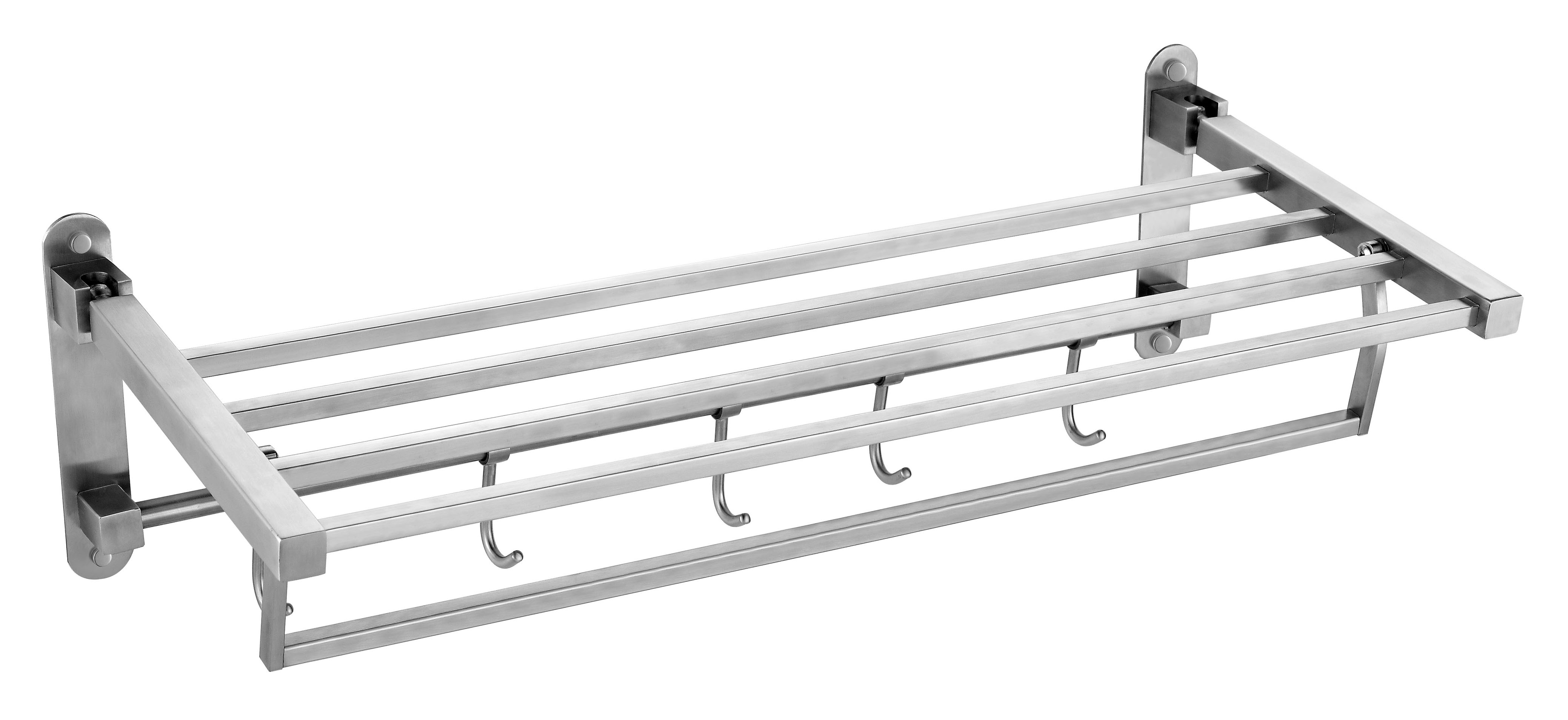 Wall mounted unique 304 SS double extension towel bars double towel shelf