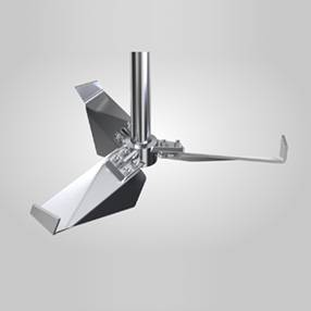 Industrial use three blade hydrofoil impeller with stable fins