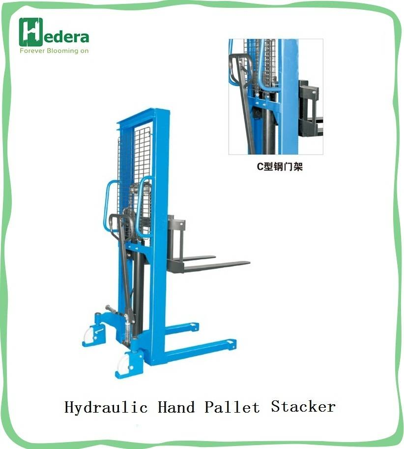 Manual hydraulic stacker for forklift