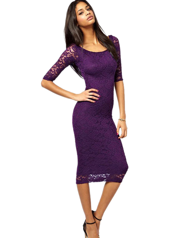 Summer Women Fashion Lace Hollow Out O-Neck Half Sleeve Mid-Calf Casual Dress WT33063