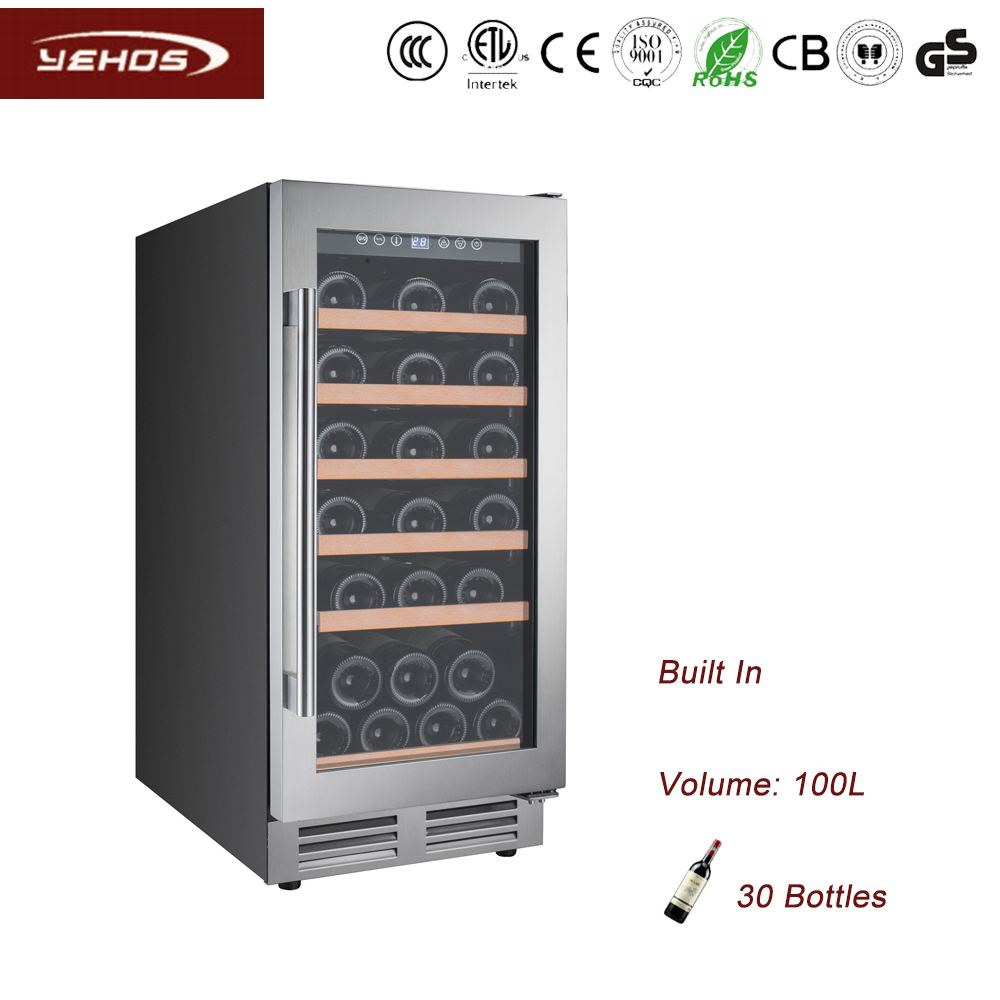 YEHOS 30 bottles built-under wine coolers with seamless SS door frame