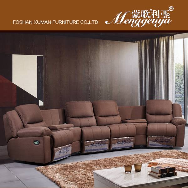 Corner recliner fabric sofa
