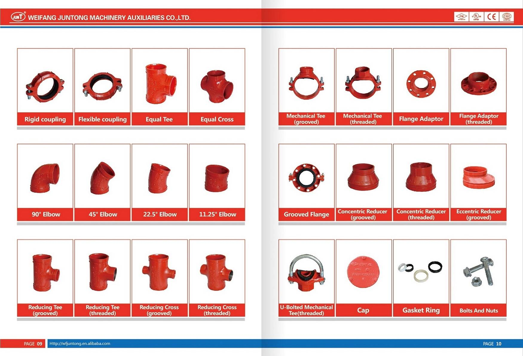 FM UL cUL CE approved ductile iron grooved coupling and grooved pipe fitting cross