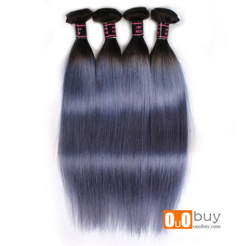 100% Peruvian Remy Hair Ombre Grey Color Straight Hair Remy Human Hair Peruvian Remy Hair