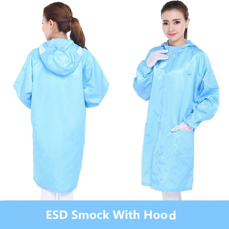 Antistatic Clothes Lab Coat ESD Smock With Hood For Workers