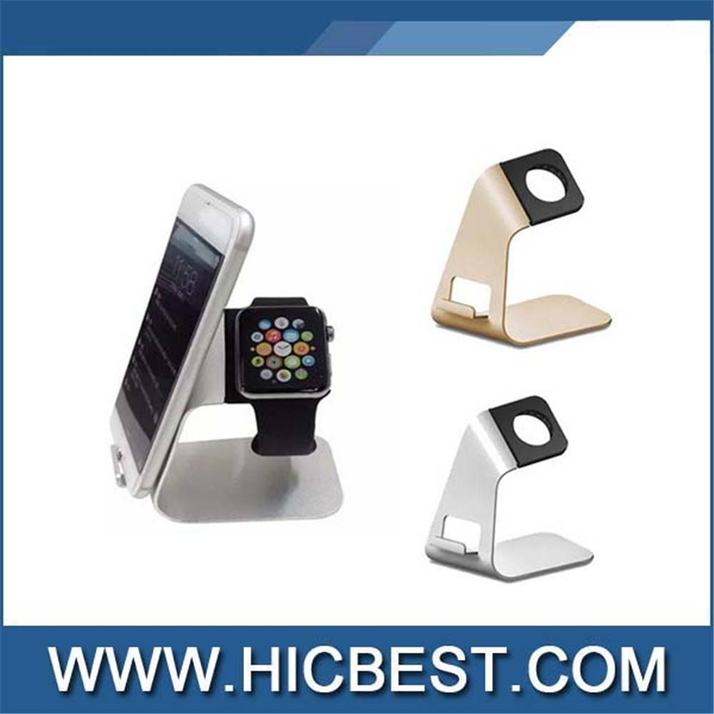 Hot selling for apple watch metal stand, 2 in 1 aluminum alloy stand holder for apple watch/iPhone
