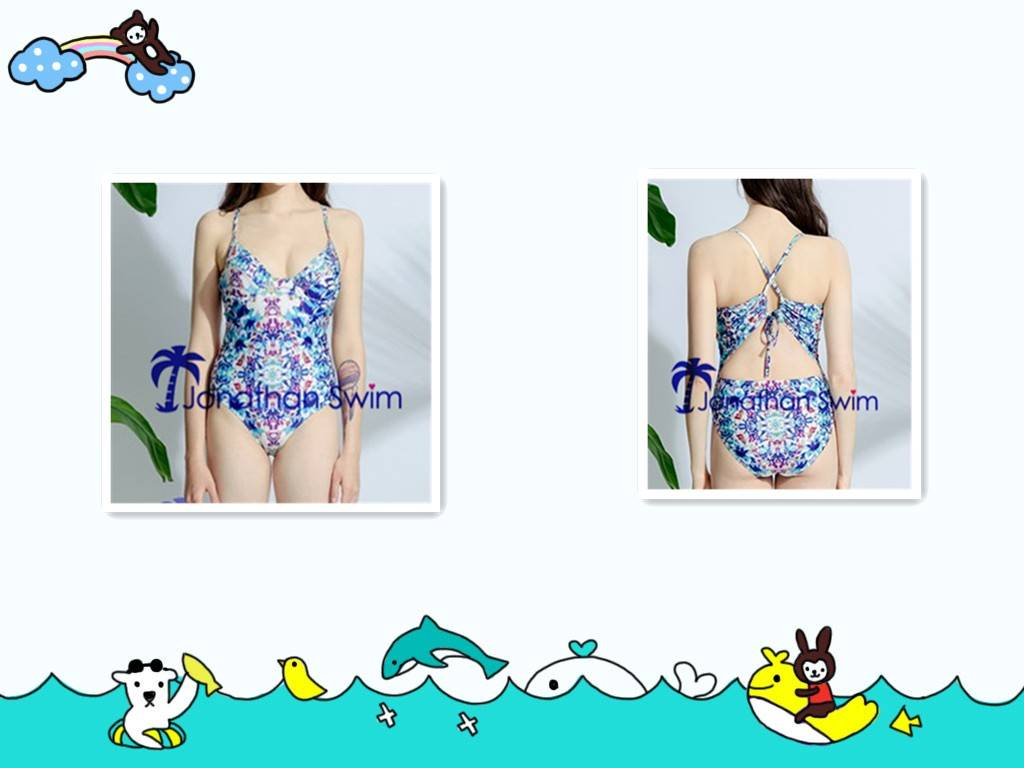 Women's Sexy and Gorgeous High Cut Full Piece in Fashion Print Swimsuits.