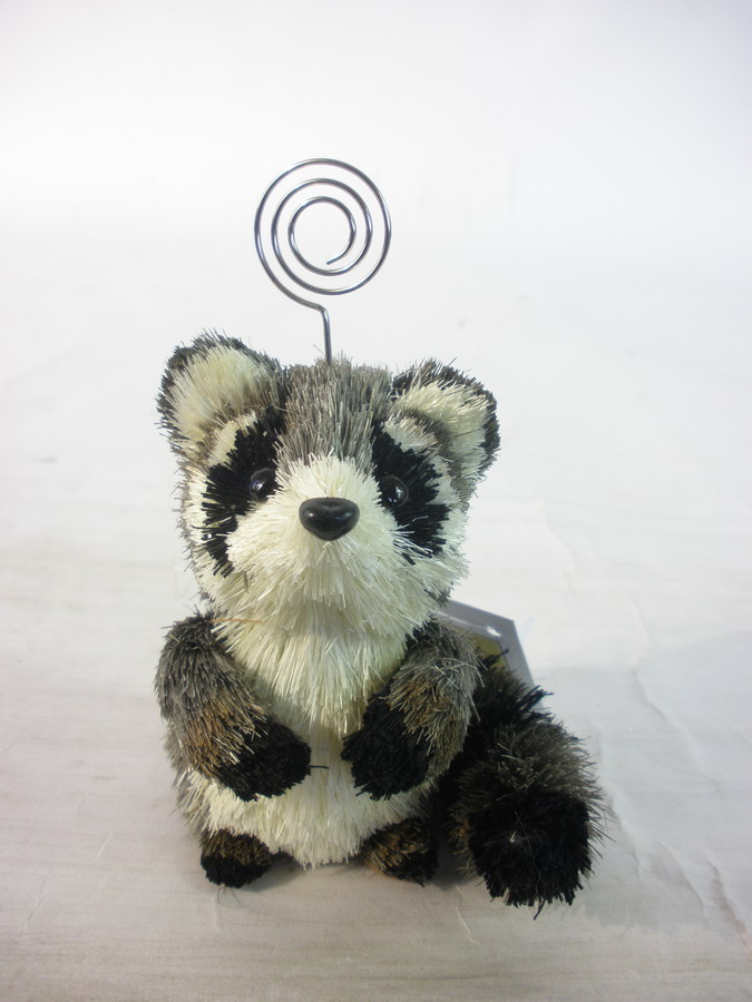 Sisal raccoon namecard holder/memo clip fall decoration