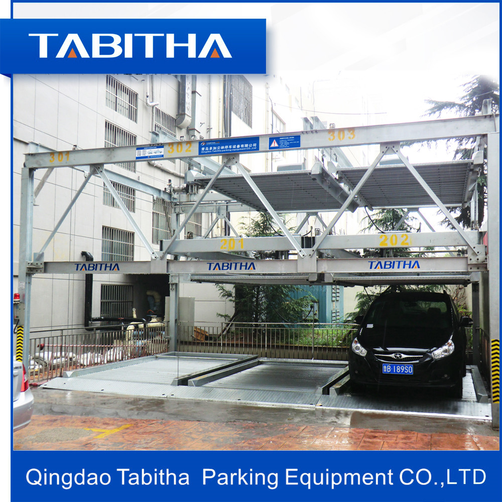 three floor automatic lifting sliding puzzle car parking system