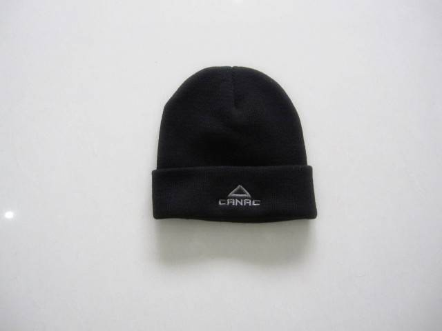 Promotional embroidered knitted hat black beanie