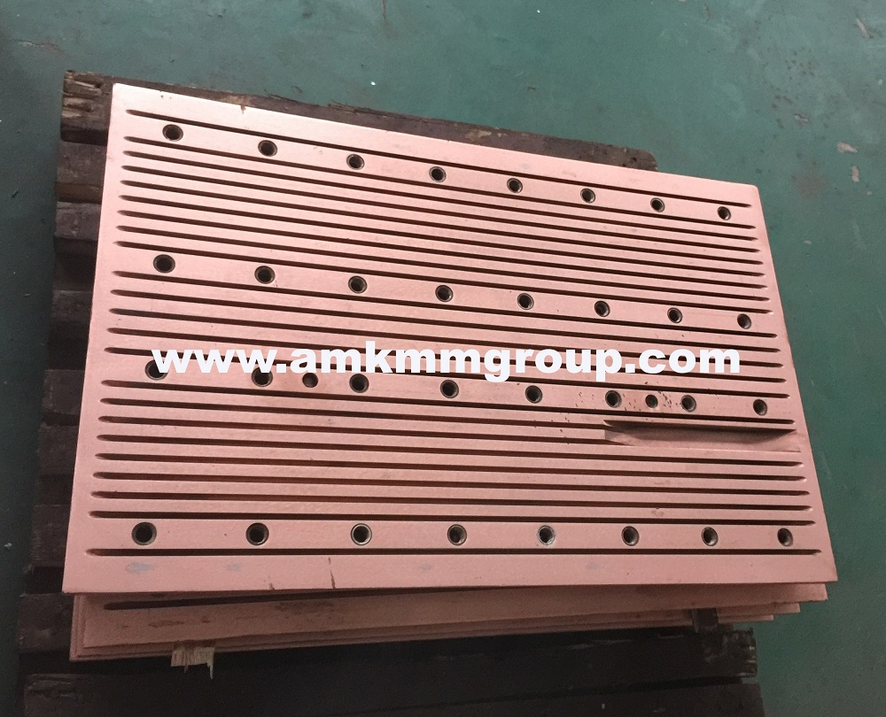 Copper mould plate for slab continuous casting