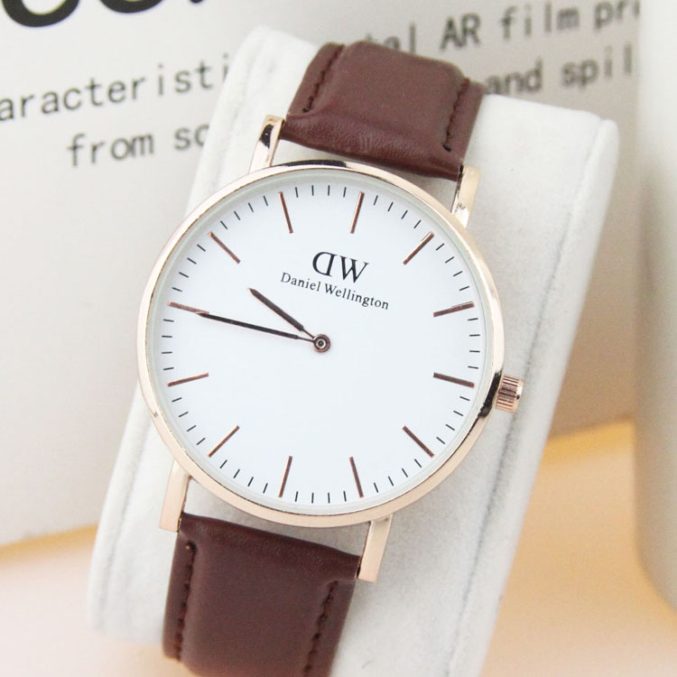 DW style fashion ultra-thin business brand wrist watches lovers leather watches