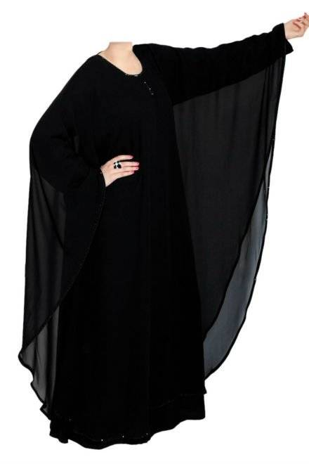 Simple double layer butterfly style abaya