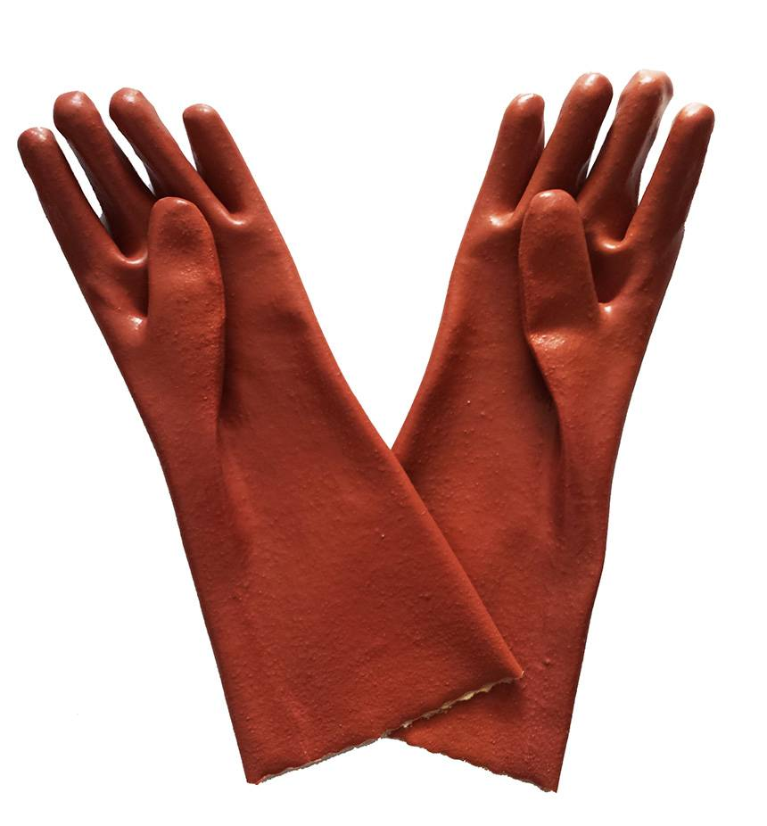40 cm brown smooth finished PVC working safety gloves