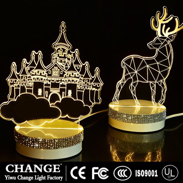 3D lamp battery USB Night ight LED Christmas festive wedding party home decor