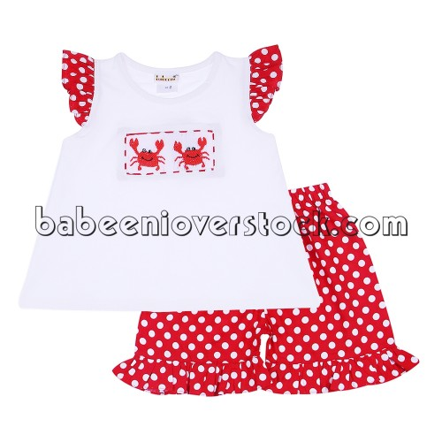 Adorable crab smocked short set for girl - BB949