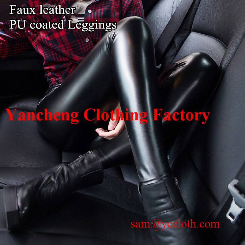 sexy lady black pu leggings manufacture wholesale