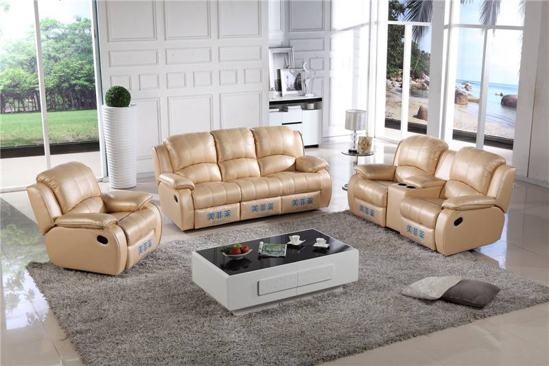 Fashion genuine leather recliner sofa for living room