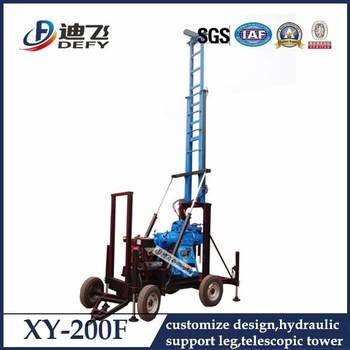 Borehole drilling machine XY-200F portable water well drilling rigs for sale