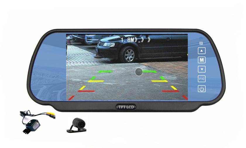 16:9 screen type and 7 inch screen size car rear view mirror monitor support rear view backup camera
