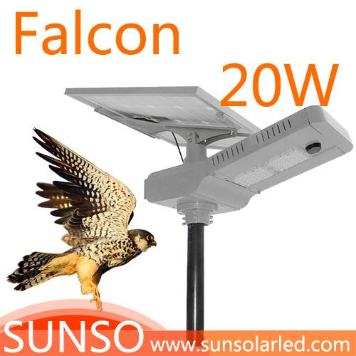 20W All in one solar powered LED Wall mounted, Park, Villa, Village light with motion sensor functio