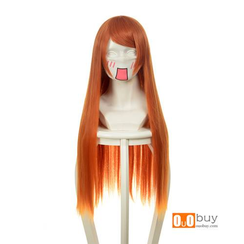 Evangelion EVA Asuka Orange Red Long Straight Cosplay Wig
