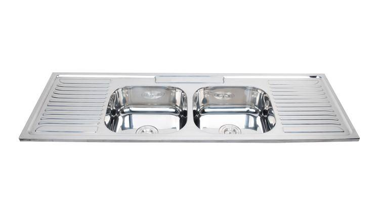 Long double bowl kitchen sink with drainboard with competitive price Chinese supplier WY-15050D