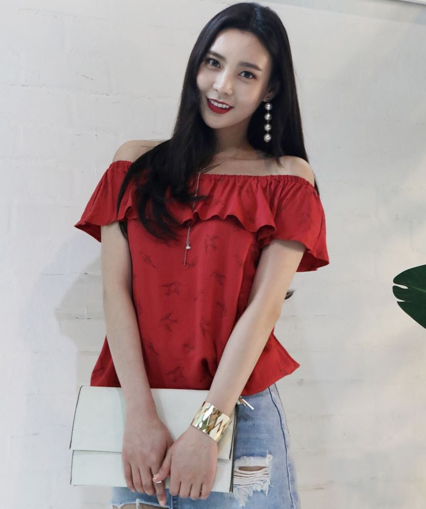 New high quality fashion Korean style Summer women Off-shoulder blouse for Ladies