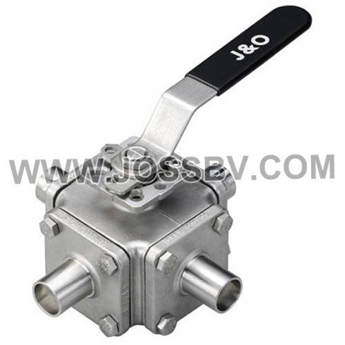 Four-Way Sanitary Tube Butt Weld Direct Mount Ball Valve