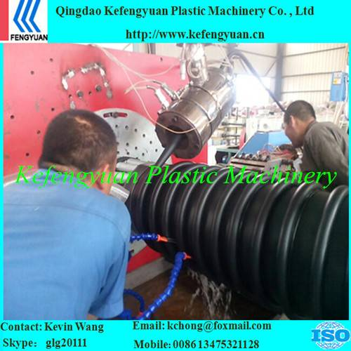 KFY B type structure wall corrugated krah carat pe hdpe pipe tube extrusion line